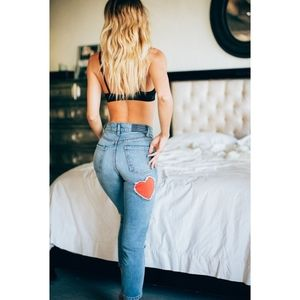REVICE | Mon Amour Crops Heart Patch Jeans